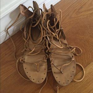 Zara Leather Boho Sandals Tan Greek Sz 9